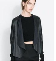 2014 spring new  women openwork lace stitching PU leather Irregular cardigan jacket ; fashion fur coat ;  jaquetas jackets
