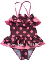 Korean style children's swimsuit girls baby swimsuit coffee dots baby girls kids bikini swimwears beach wears Free Shipping