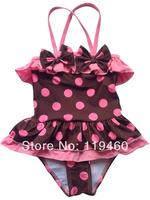 Korean style children's swimsuit girls baby swimsuit coffee dots baby girls kids bikini swimwears beach wears Free Shipping