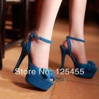Womens Peep Toe Ankle Strap Platform Over High Heels Sandal Bow Stiletto Shoes