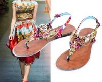 2014 european   lady summer flat heel sandal bohemian style  flip flops string bead flower beach  sandal