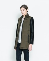 2014 new winter PU leather long sleeve coat ; cotton padded thick stitching long Parkas ; army green parka ,women jacket