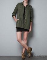 2014 spring new embroidered military uniform style jacket ; long sleeve Epaulet women coat ; casacos coats ; jaqueta