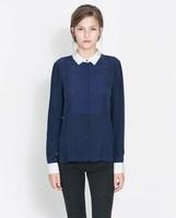 2014 Spring European style color stitching Slim thin long sleeve chiffon shirt ; camisas femininas blouses ; camisas