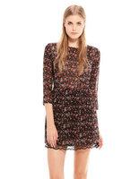 2014 Spring new women fashion floral print chiffon dress ;  vintage knee-length lace dresses ;  vestidos ; roupas femininas