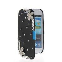 Slim Fit Side Flip Hard Leather Bling Rhinestone Case Cover For Samsung Galaxy S3 Mini I8190