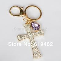 2014 novelty items Souvenir Cross Key Chain Couple Keychain Women's Bag key Ring Trinket Crystal key holder car key cover