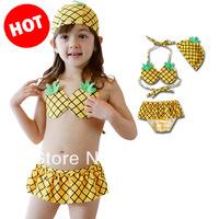 2014 Korean new  VIVO new girls swimsuit bikini pineapple swimsuits baby girls kids bikini swimwears bathing suitFree Shipping