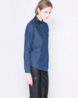 2014 new leather collar denim shirt ; long sleeves blouses ; women clothing