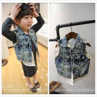 (5 pcs/lot)wholesale 2014 New spring autumn children's baby clothing two piece faux denim vest children's fashion clothes