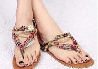 2014 hot sell  women bohemian style  summer flat heel sandal  flip flops string bead flower beach  sandal  free shipping
