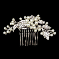 High Quality Austrian Crystal Silver Plated Hollow Tiara Hair Combs Wedding Jewelry