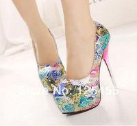 Womens Rose Flower Floral Lucency Metal Platform High Heels Wedding Party Shoes