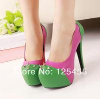 Womens Multi Color Platform Round Toe Rivet Spike High Heels Pumps Lady Shoes