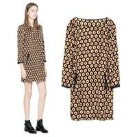 New Fashion Ladies' Vintage Geometric pattern dress Faux leather spliced three quarter sleeve casual slim dress CB04012