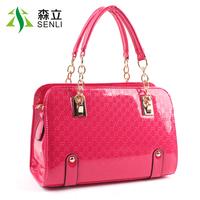2014 women's handbag fashion japanned leather shiny BOSS handbag messenger bag women's handbag chain bag
