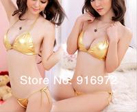 Bright skin sexy underwear temptation suit three metallic lace open crotch perspective Baoru swimsuit