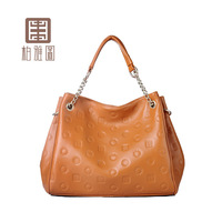 Emboss women's handbag logo fashion chain shoulder bag handbag bag 2014 lather-bag 66414