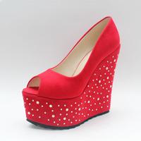 2013 open toe ultra high heels single  platform rhinestone red wedding shoes plus size 43 42 33 small yards