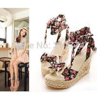 Bow tie platform wedges sandals women's shoes plus size 42 43 small 31 32
