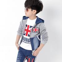 2014 children's clothing male child spring sweatshirt piece set child clothes sports casual set