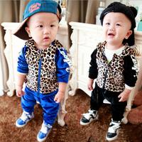 Child spring set children's clothing male female child 2014 baby leopard print spring set children sports set