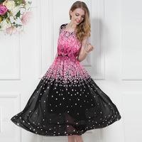 2014 new European-style woman's gown fashion style romantic cherry Vest dress Cool chiffon dresses XL Free shipping