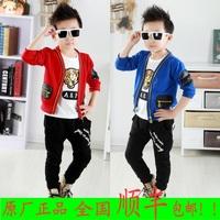 2014 spring children's clothing male child three piece set child cardigan set sports set