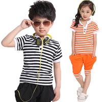 Child summer female 2014 children's child summer clothing stripe sportswear big boy child summer male short-sleeve set
