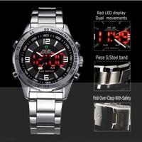 Free Shipping Fashion Brand WEIDE 1009  LCD Dual Time Quartz Analog & Digital Military Wrist Watch 30m Water Resistant