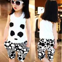 baby kids clothes chldren clothing Cartoon giant panda vest capris summer set ys1043  15p