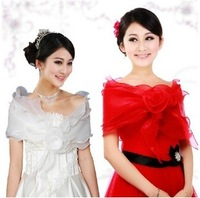 Summer usuginu roll-up hem shrug white bride red cape wedding wrap formal dress accessories