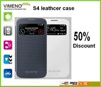 Big instock wholesale leather case Colorful Smart Wake View Flip Leather Case Cover For Samsung Galaxy S4 i9500