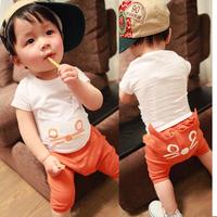 kids clothes Clothing Sets 2014 summer cat harem pants set baby set qb1030  summer 15p