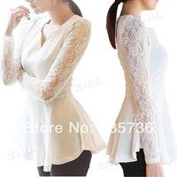2014 Women's Korea Style Flared Peplum Sexy Shirts HOT Style Lace Sleeve Blouse 8213