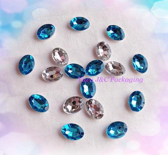 FREE SHIPPING-- 500pcs mixed Blue and Clear Oval Acrylic stone,Rhinestone,Table DIY Decoration Craft Stone (JCO-D08)(China (Mainland))