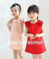 2014 children's clothing spring kid's dresses female child baby shoulder flower chiffon flower one-piece girl dress