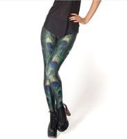 leggings Fashion Shiny BLACK Milk Leggings Women Clothing 2013 New PEACOCK LEGGINGS Digital Print Pants---K184