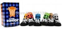 6pairs/lot 2014 Baby boy girl Cotton socks with Shoelace Toddler fake shoes socks training walking anti-slip children kids socks