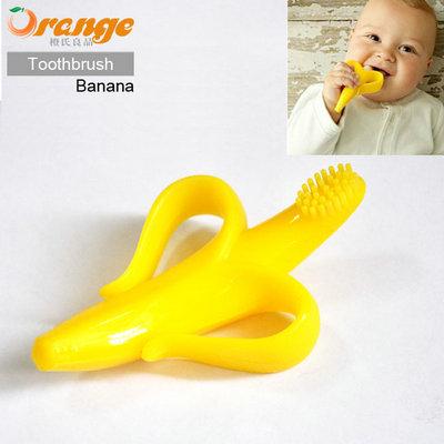 Orange de haute qualité, sûr et respectueux de l'environnement de dentition pour bébés anneau de dentition en silicone brosse à dents banane livraison gratuite!
