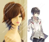 Free shipping high quality wig Brown blue mixed wig Pretty boy short hair Animated cartoon wig