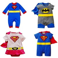 Free Shipping newborn super man style short-sleeve romper 2014 child romper baby spring baby clothes