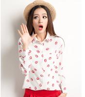 New 2014 hot fashion women lip printed shirt Chiffon long-sleeved blouse S M L