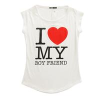 Free shipping T-shirt Fashion trendy NaluLa women I love my Boyfriend cotton clothes Tops Tees T shirt T12