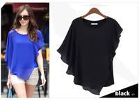 New 2014 fashion Women chiffon blouse pure color shirts Loose Short Sleeve casual blouses femininas plus tops S-XL