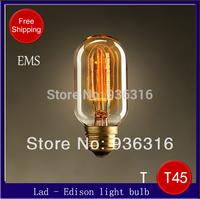 Free shipping EMS 100pcs/lot Edison light Bulb retro light bulb filament Chandelier bulbI ncandescent Bulbs E27 T45 40W 220V