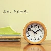 Wood alarm-clock quieten child bedside vintage clock muji brief personality creative alarm clock