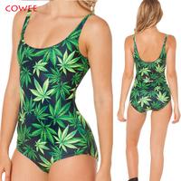 2014 women Woah Dude 2.0 Nana Suit Top GREEN maple leaf print black milk Vest Swimwear Summer +freeshipping