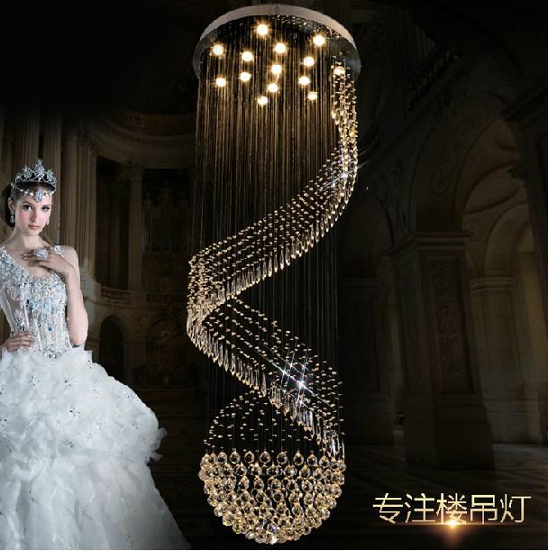 Frete grátis luxo moderno grande lustre de cristal luzes Dia80 * H300cm espiral brilho iluminação home design escada(China (Mainland))