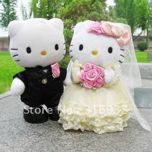 J1 Well Made 30cm Wedding Couple Hello Kitty Stuffed Plush Toy toys wedding souvenirs, 1pair, Free shipping(China (Mainland))